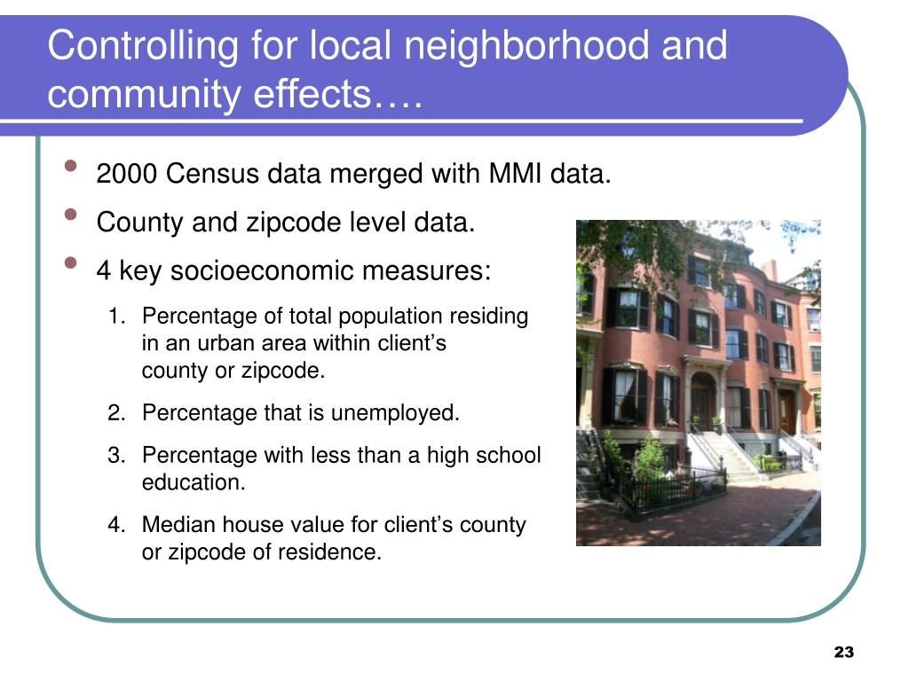 Controlling for local neighborhood and community effects….