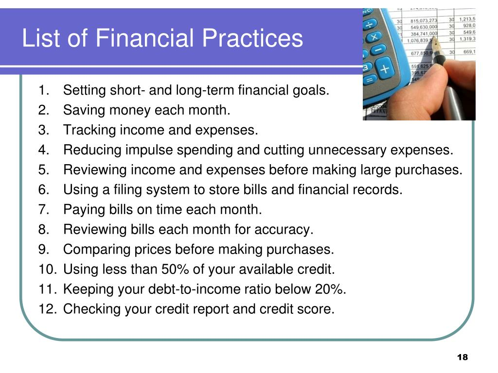 List of Financial Practices