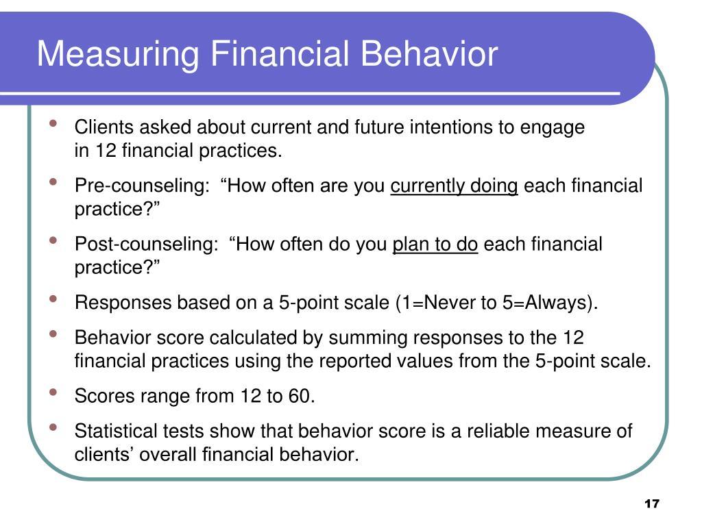 Measuring Financial Behavior