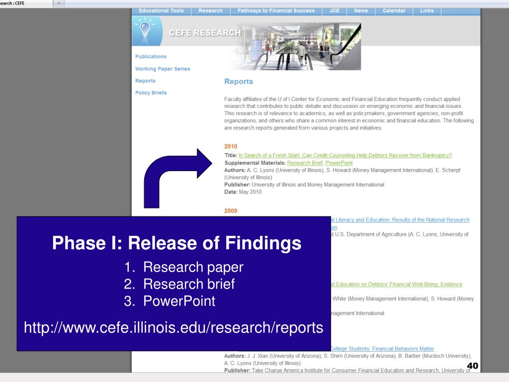 Phase I: Release of Findings
