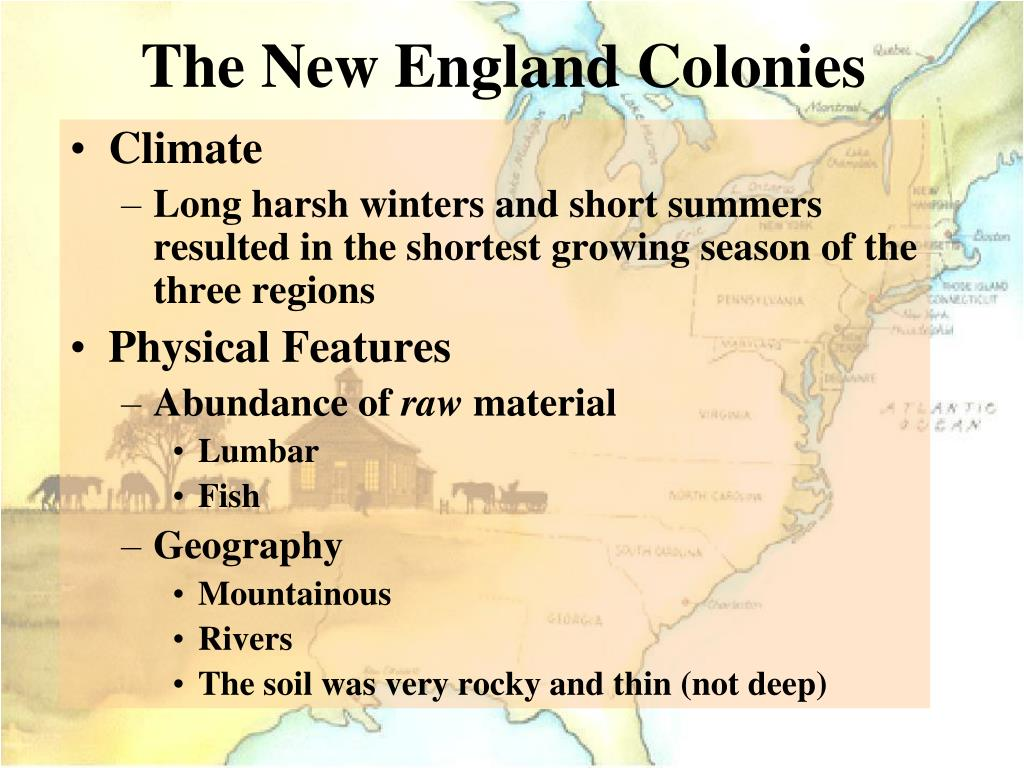 how the new england colonies were