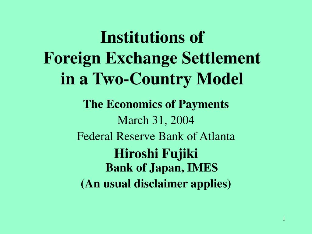 institutions of foreign exchange settlement in a two country model