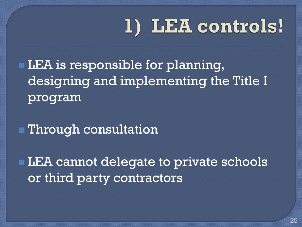 1)  LEA controls!