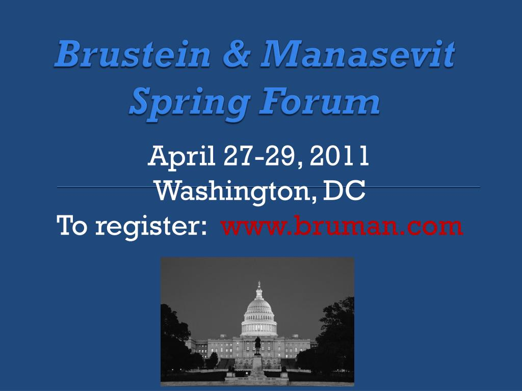 Brustein & Manasevit Spring Forum
