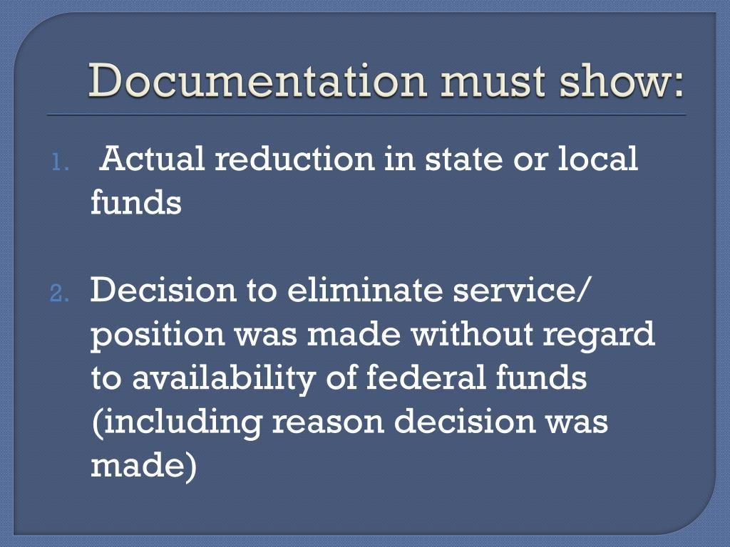 Documentation must show: