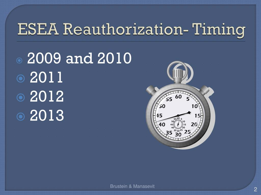 ESEA Reauthorization- Timing