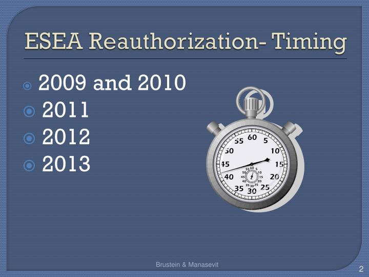 Esea reauthorization timing