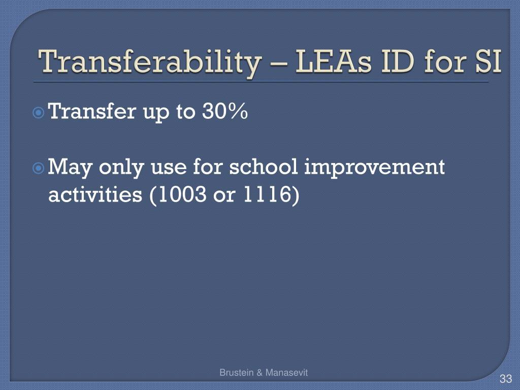 Transferability – LEAs ID for SI