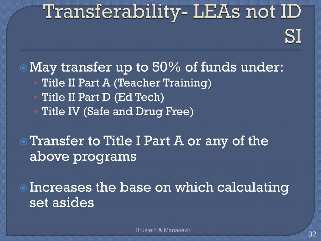 Transferability- LEAs not ID SI
