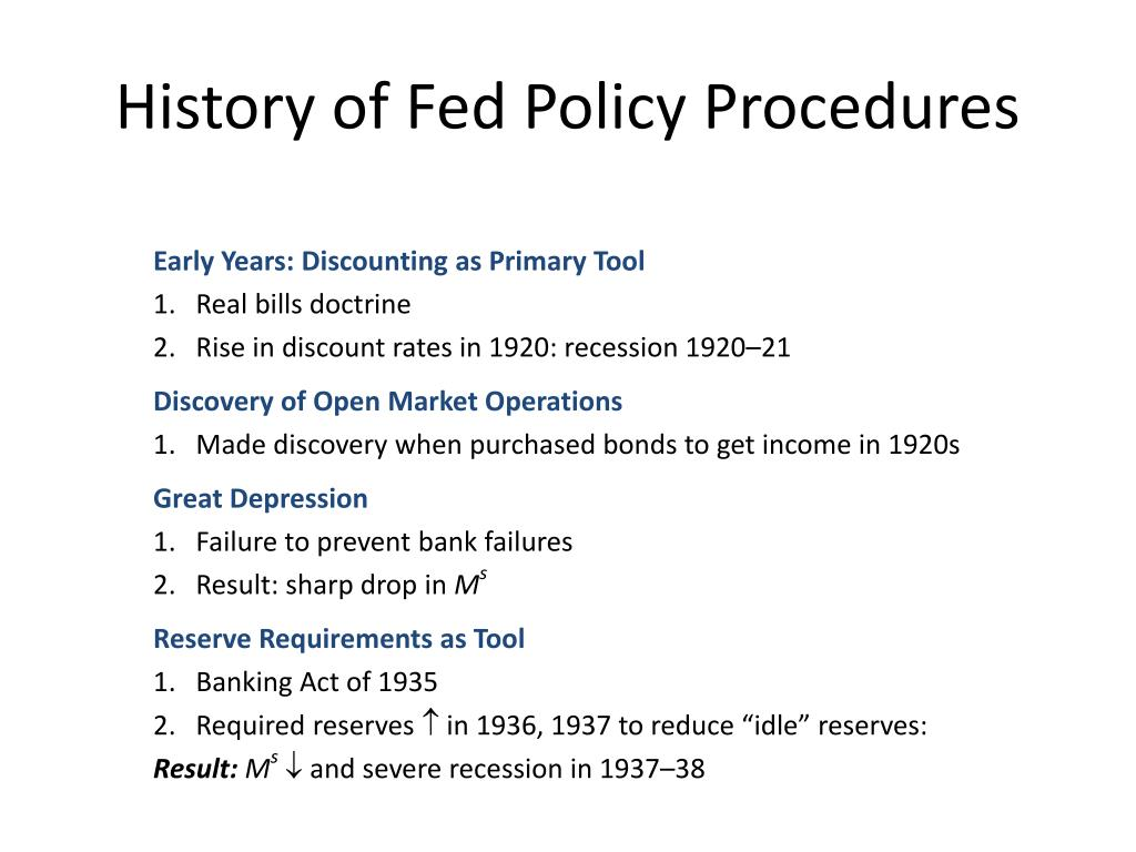 History of Fed Policy Procedures