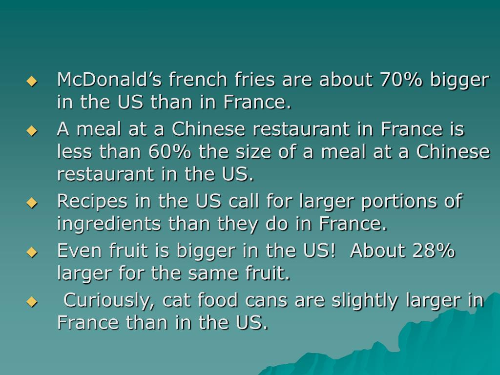 McDonald's french fries are about 70% bigger in the US than in France.