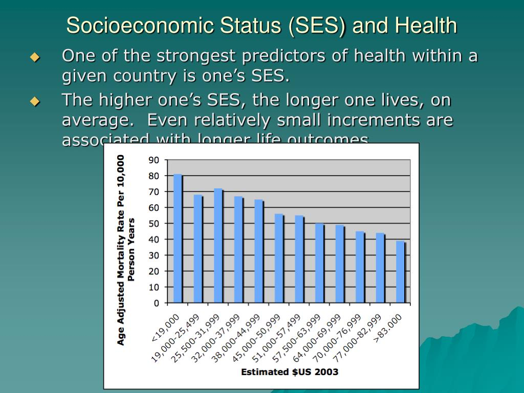 One of the strongest predictors of health within a given country is one's SES.