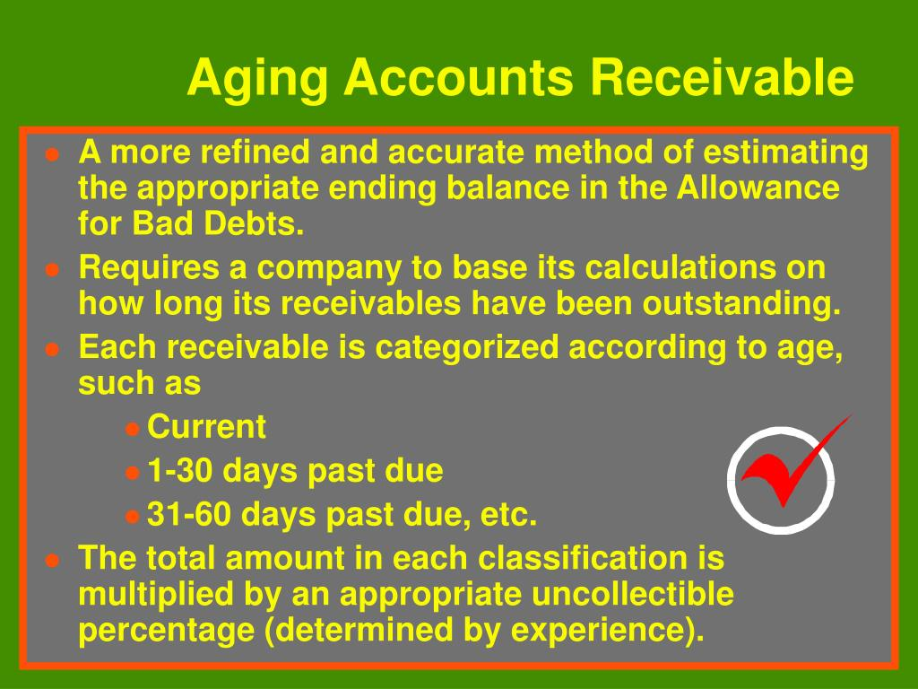 A more refined and accurate method of estimating the appropriate ending balance in the Allowance for Bad Debts.