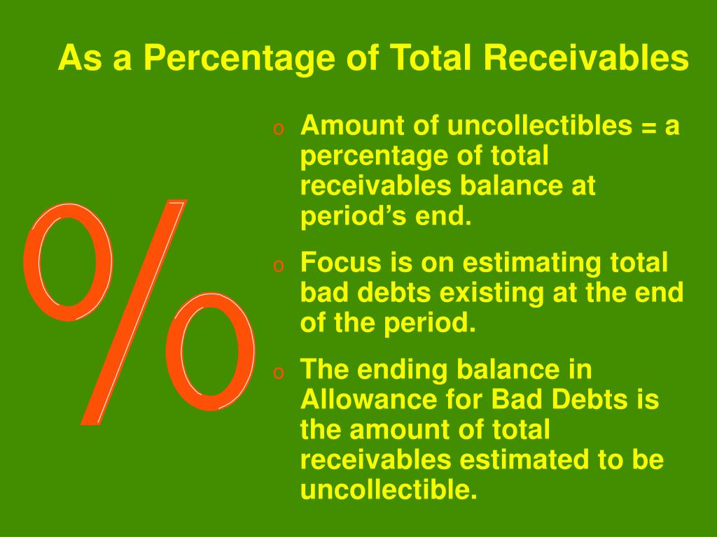 Amount of uncollectibles = a percentage of total receivables balance at period's end.
