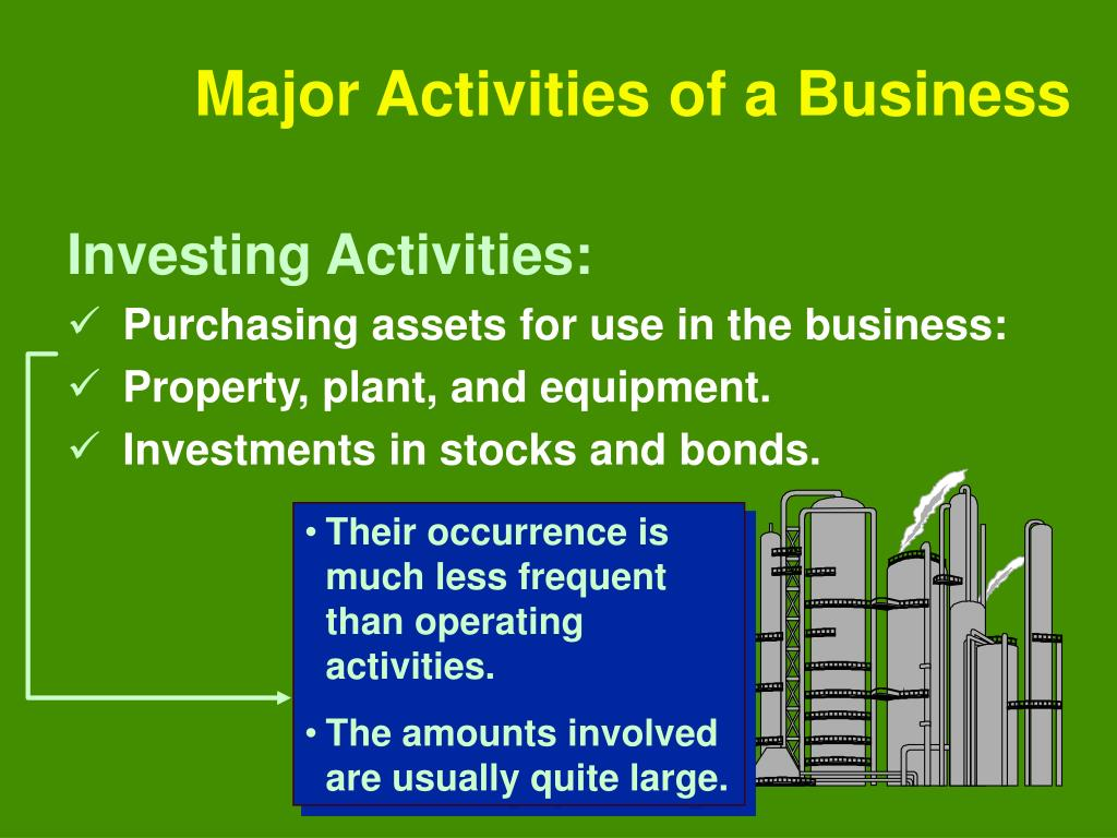 Their occurrence is much less frequent than operating activities.