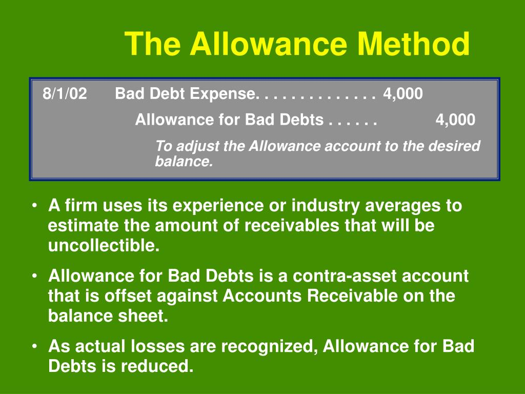 8/1/02Bad Debt Expense. . . . . . . . . . . . . .4,000