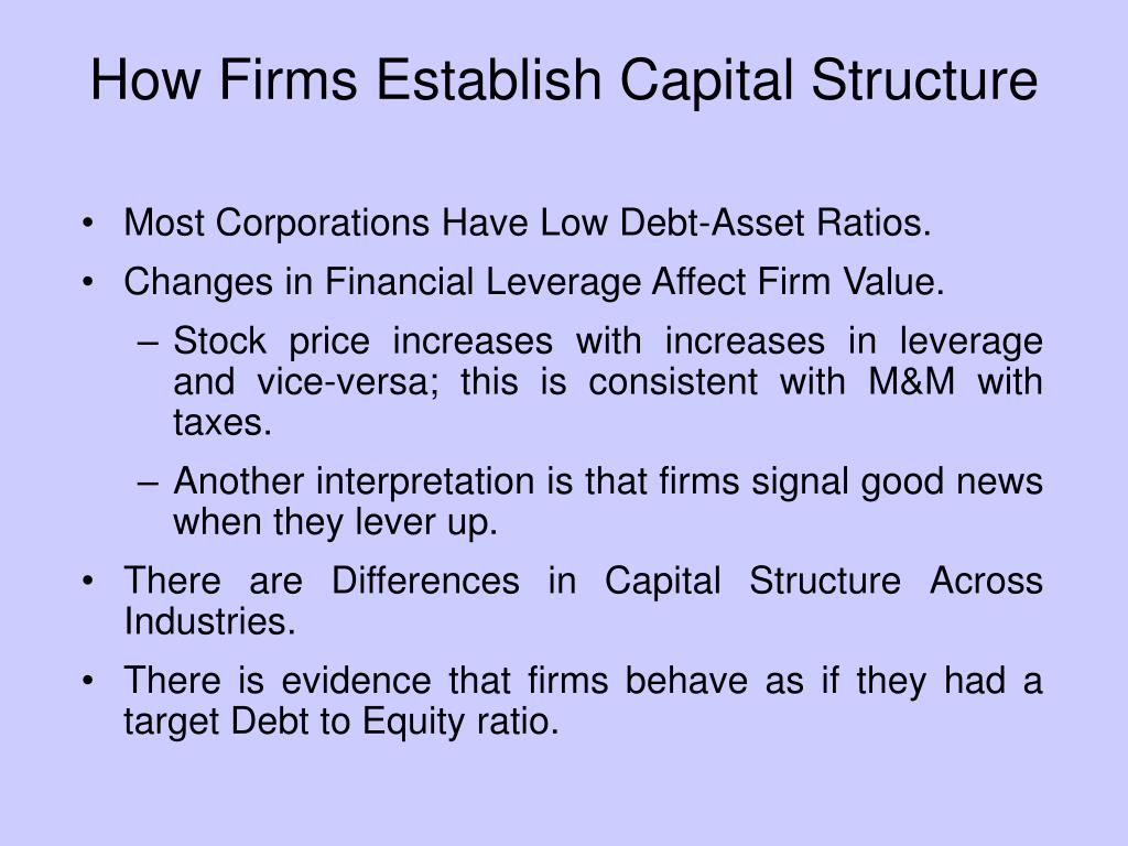 How Firms Establish Capital Structure