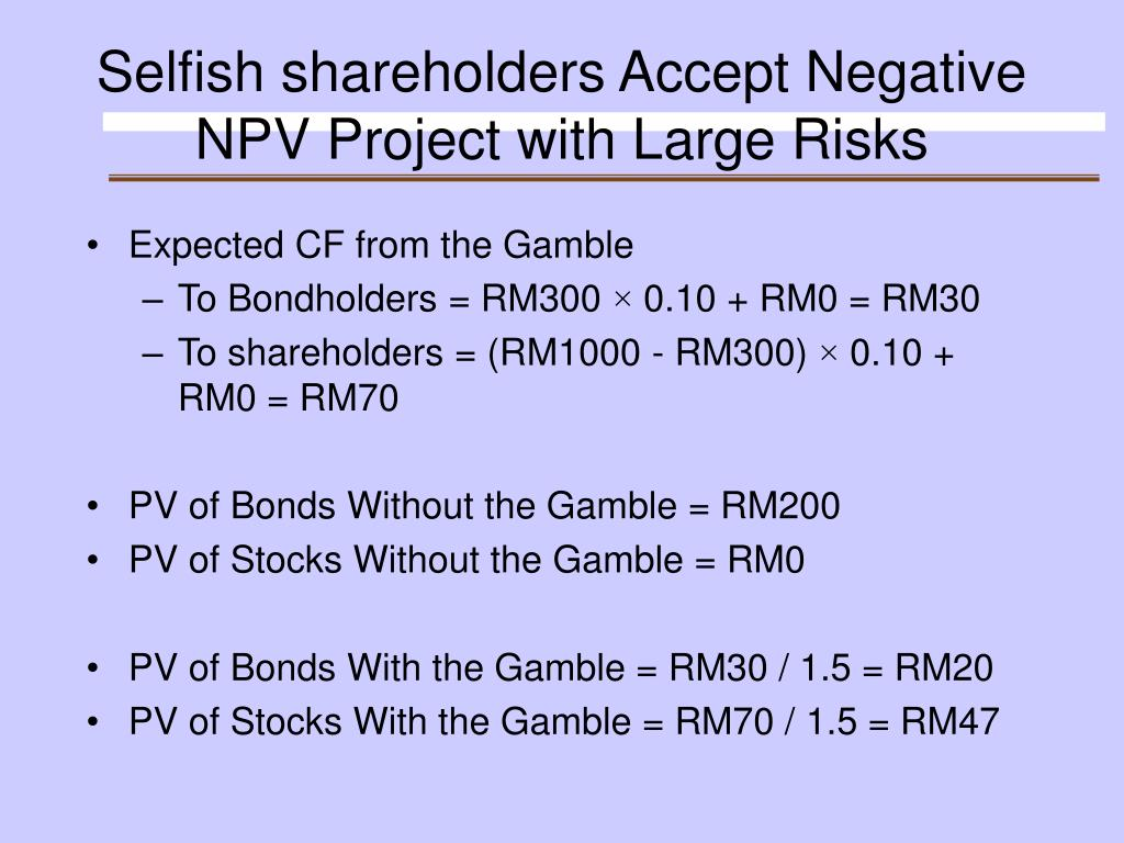 Selfish shareholders Accept Negative NPV Project with Large Risks