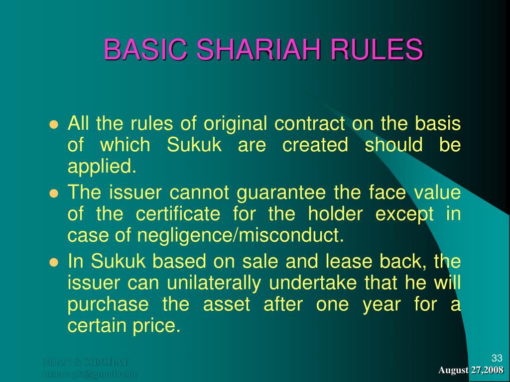 BASIC SHARIAH RULES