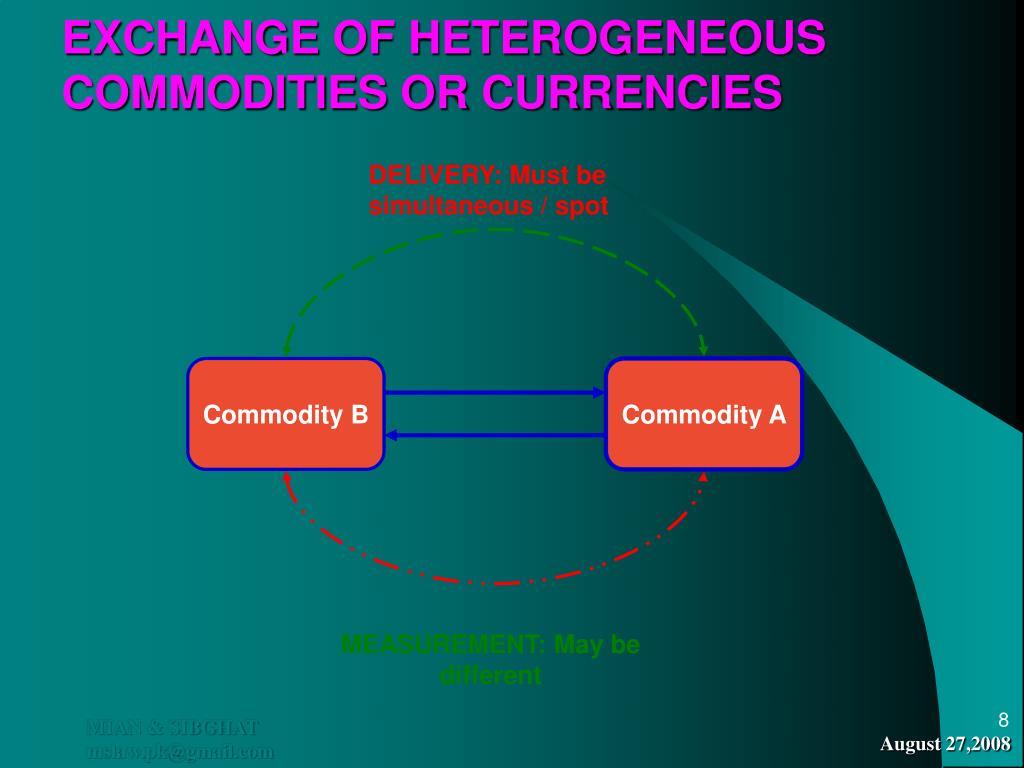 EXCHANGE OF HETEROGENEOUS COMMODITIES OR CURRENCIES