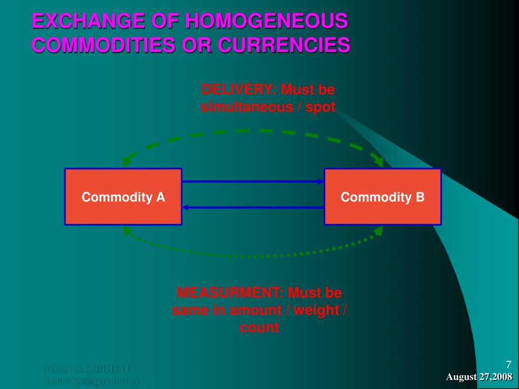 EXCHANGE OF HOMOGENEOUS COMMODITIES OR CURRENCIES
