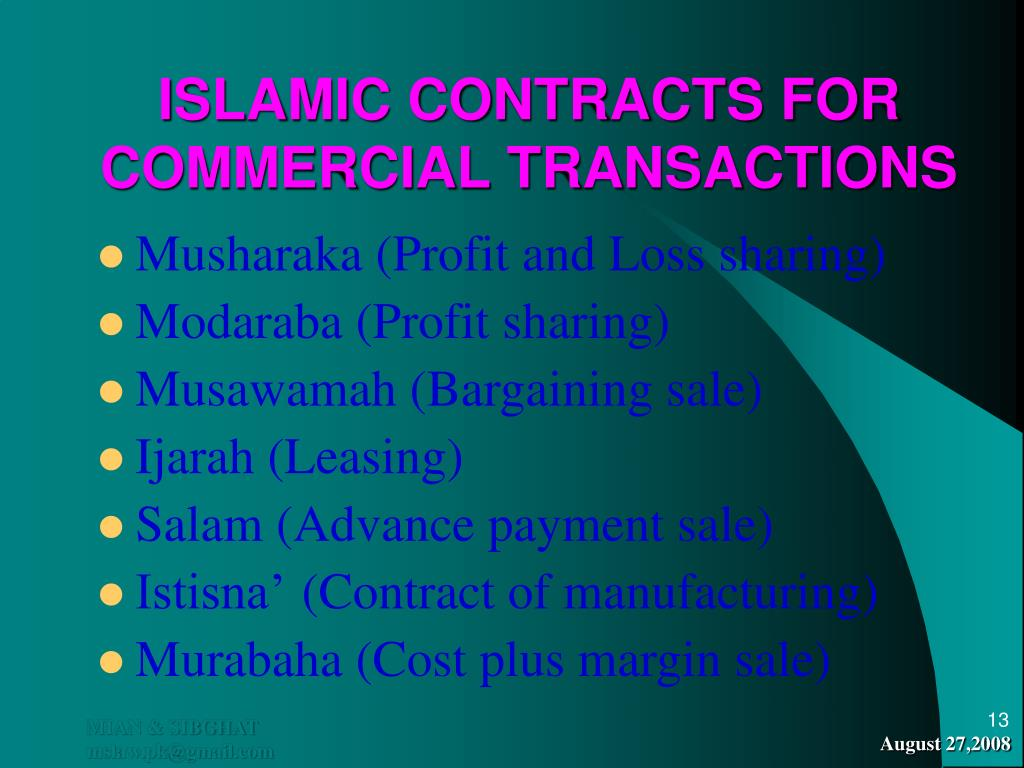 ISLAMIC CONTRACTS FOR COMMERCIAL TRANSACTIONS
