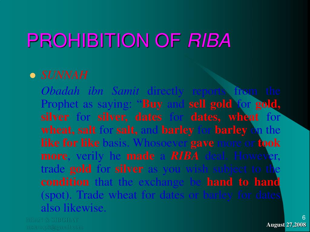 PROHIBITION OF