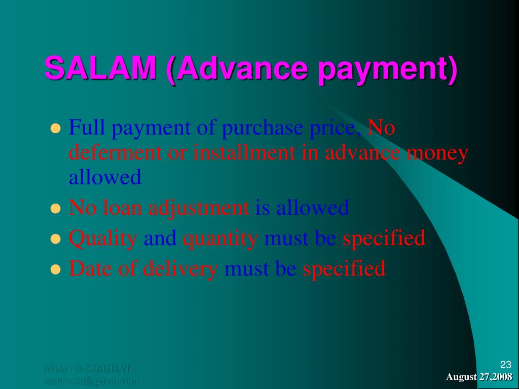 SALAM (Advance payment)