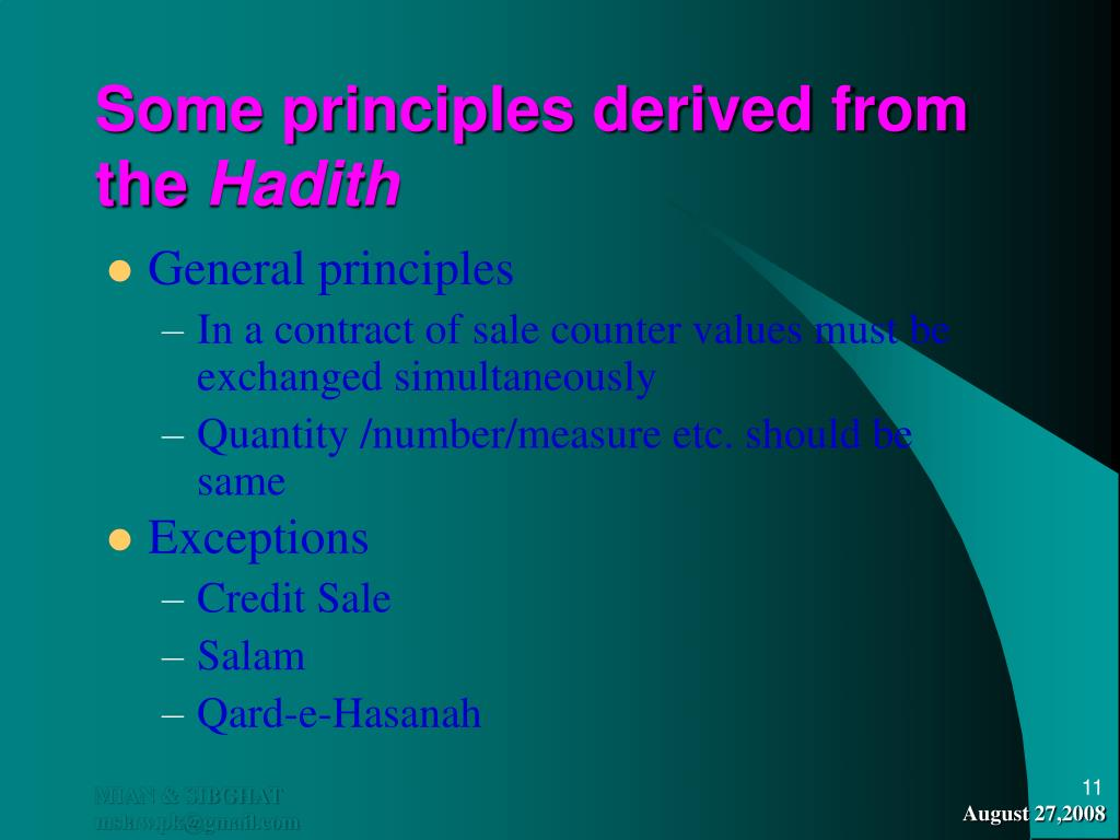 Some principles derived from the