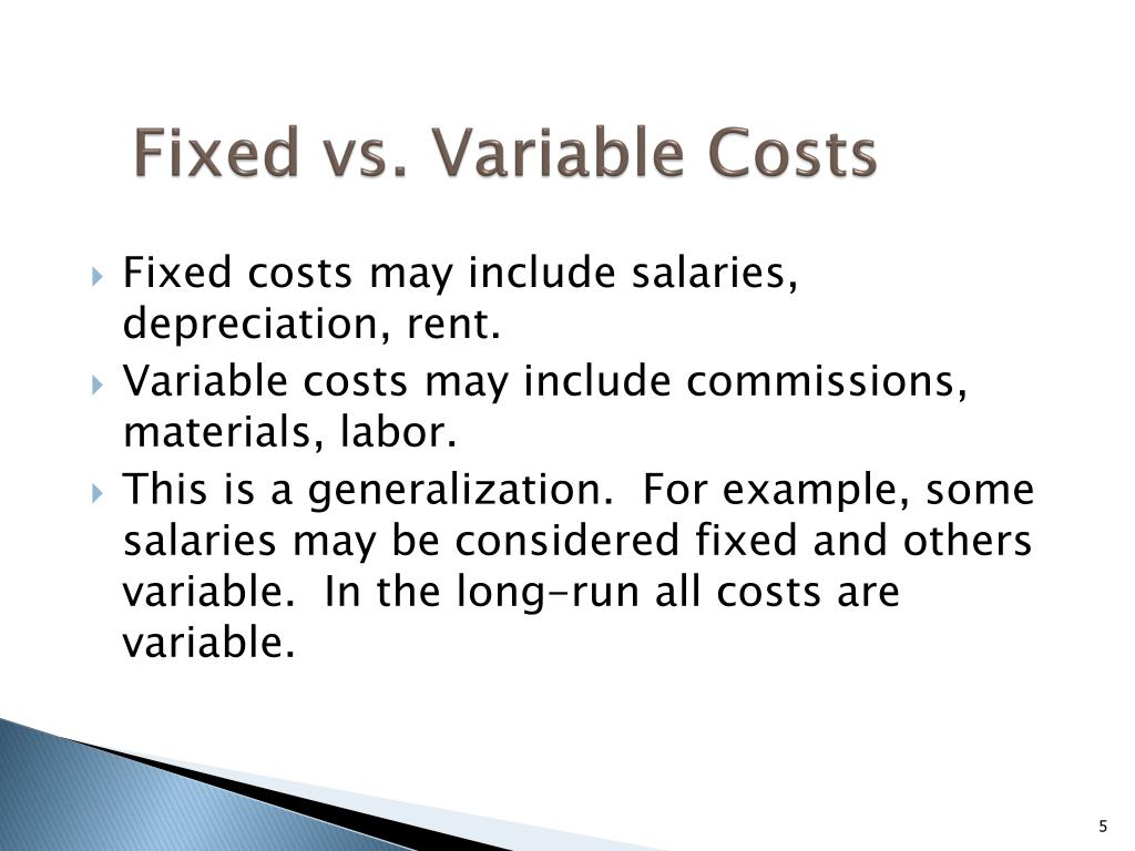 Fixed vs. Variable Costs