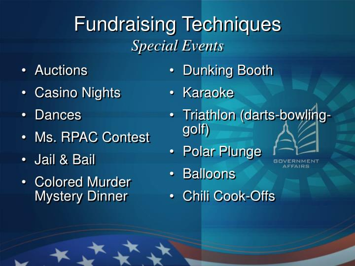 Fundraising techniques special events