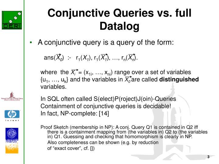 Conjunctive queries vs full datalog