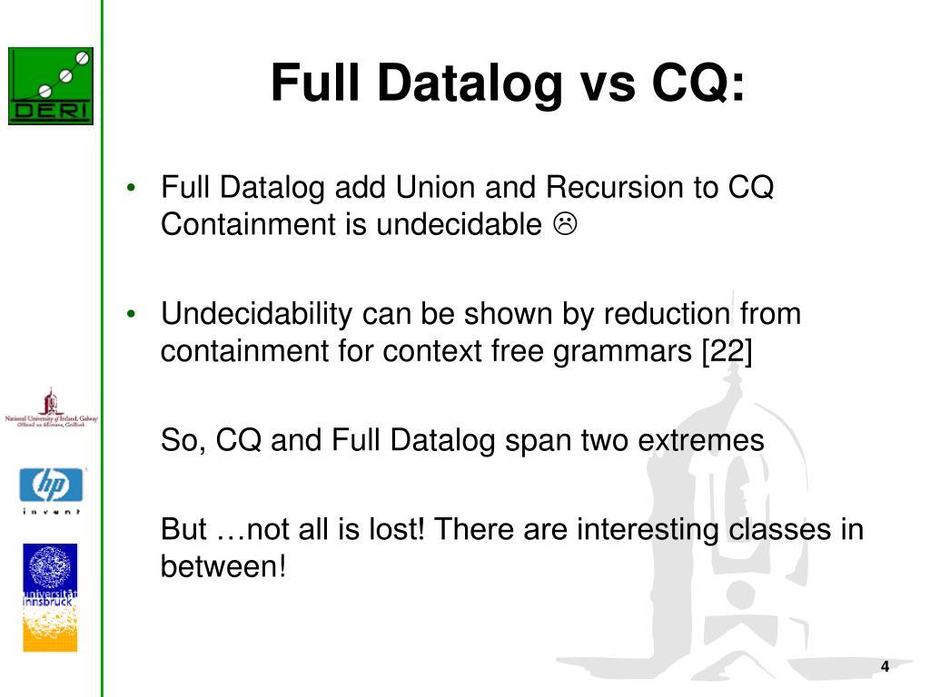 Full Datalog vs CQ: