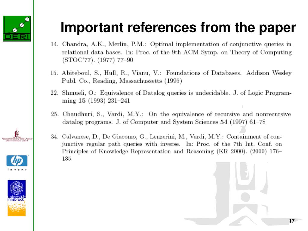 Important references from the paper