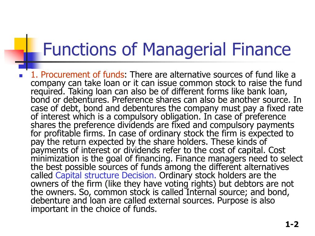 Functions of Managerial Finance