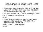 checking on your data sets
