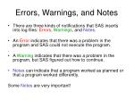 errors warnings and notes
