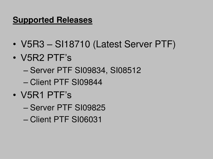 Supported releases