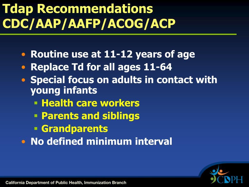 Tdap Recommendations CDC/AAP/AAFP/ACOG/ACP