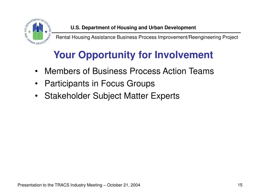 Your Opportunity for Involvement