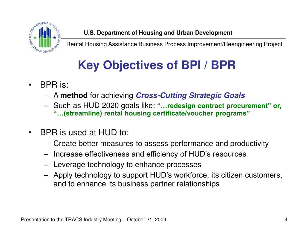 Key Objectives of BPI / BPR