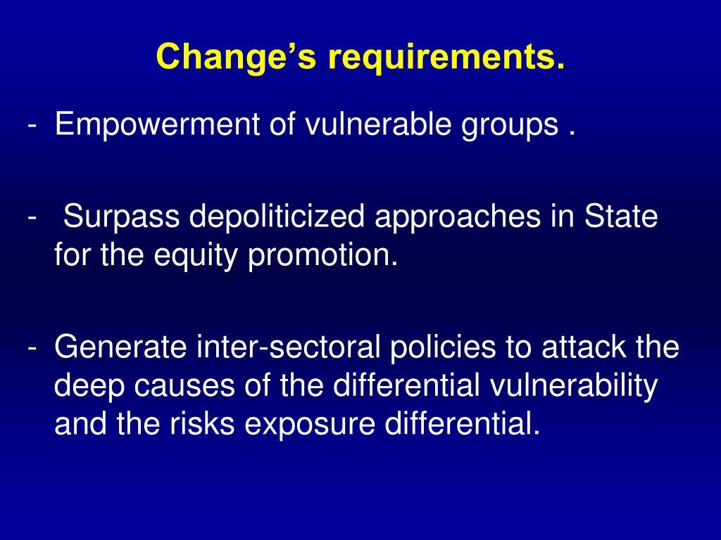 Change's requirements.