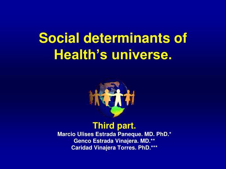 Social determinants of health s universe