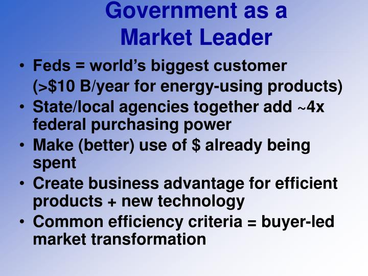 Government as a market leader