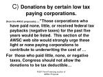 c donations by certain low tax paying corporations