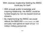 with visionary leadership fielding the awsc could pay for itself