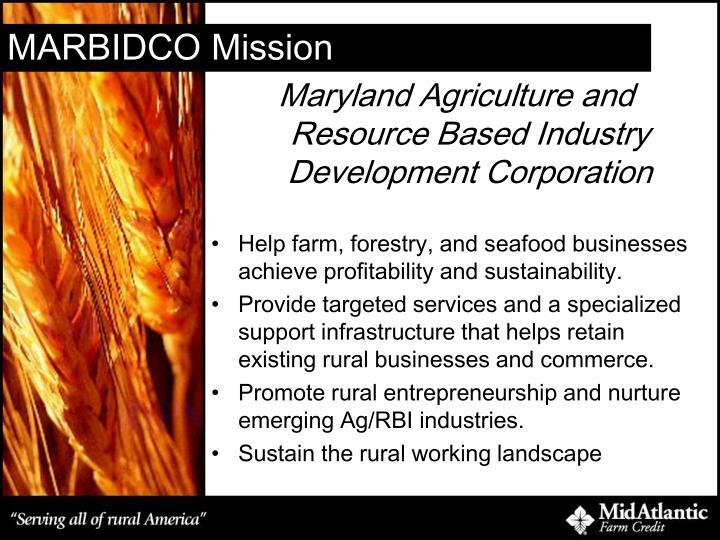 Marbidco mission