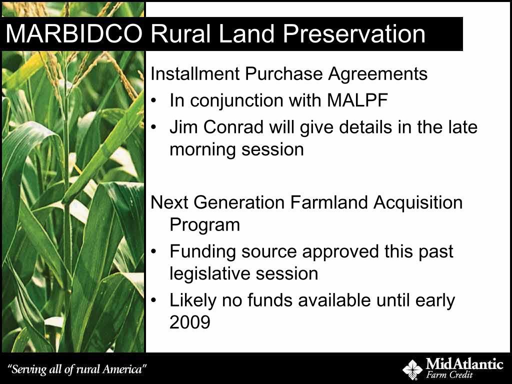 MARBIDCO Rural Land Preservation