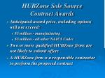 hubzone sole source contract awards