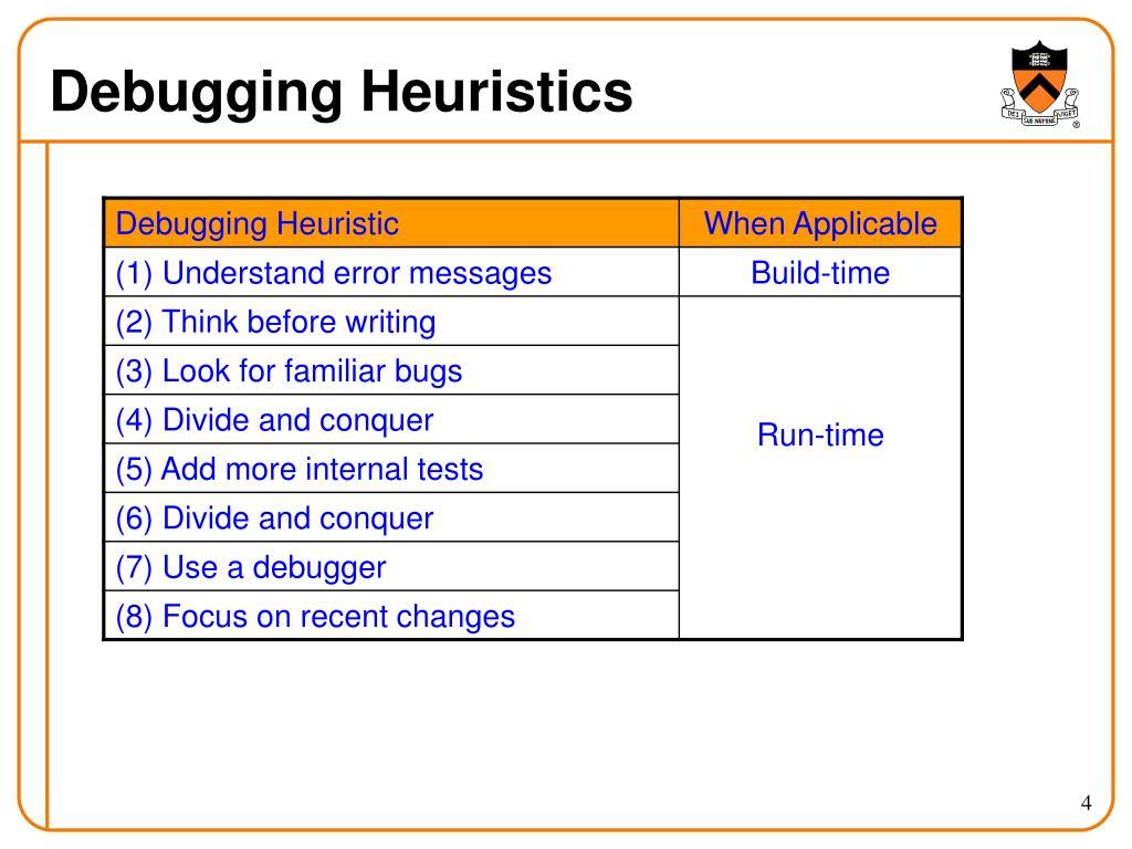 Debugging Heuristics